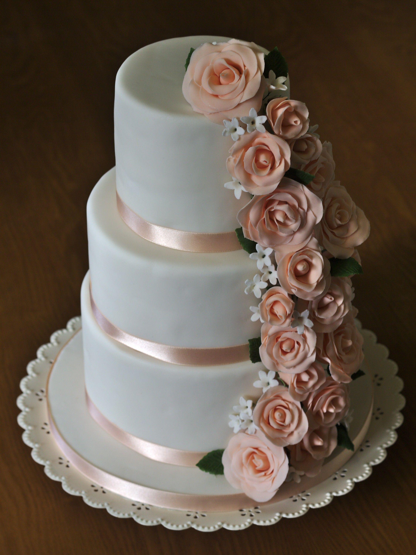 Peach Rose Cascade A Three Tier Birthday Cake With Sugarpaste