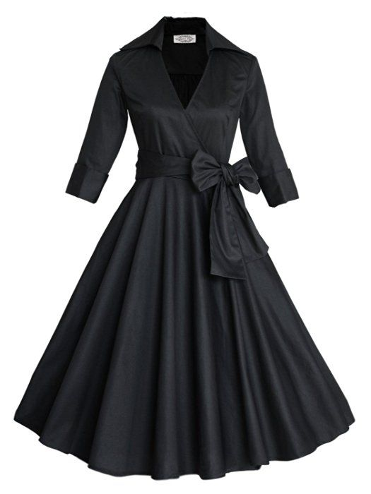 Womens Classy Vintage Audrey Hepburn Style 1940's Rockabilly Evening Dress Black Large