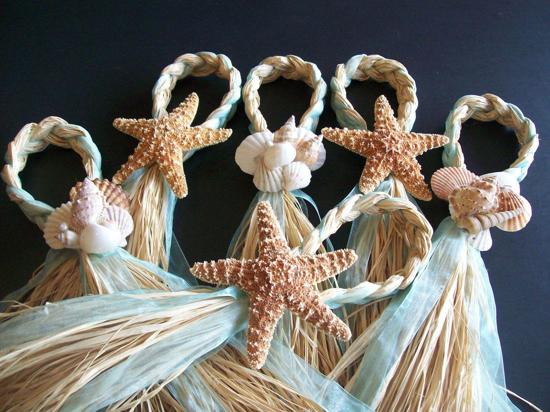 Beach Aisle Decorations Pew Bows Starfish And Raffia Chair Hangers Wedding Pick Your Ribbon Destination Seashells