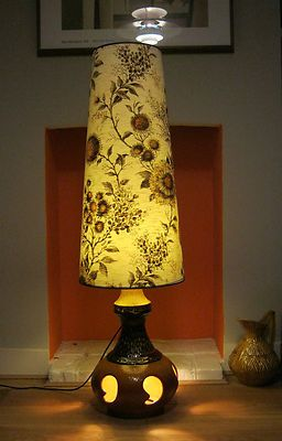 Very Large Retro Vintage 60s 70s Mid Century Floor Standing Lamp Lampshade Floor Standing Lamps Standing Lamp Lamp