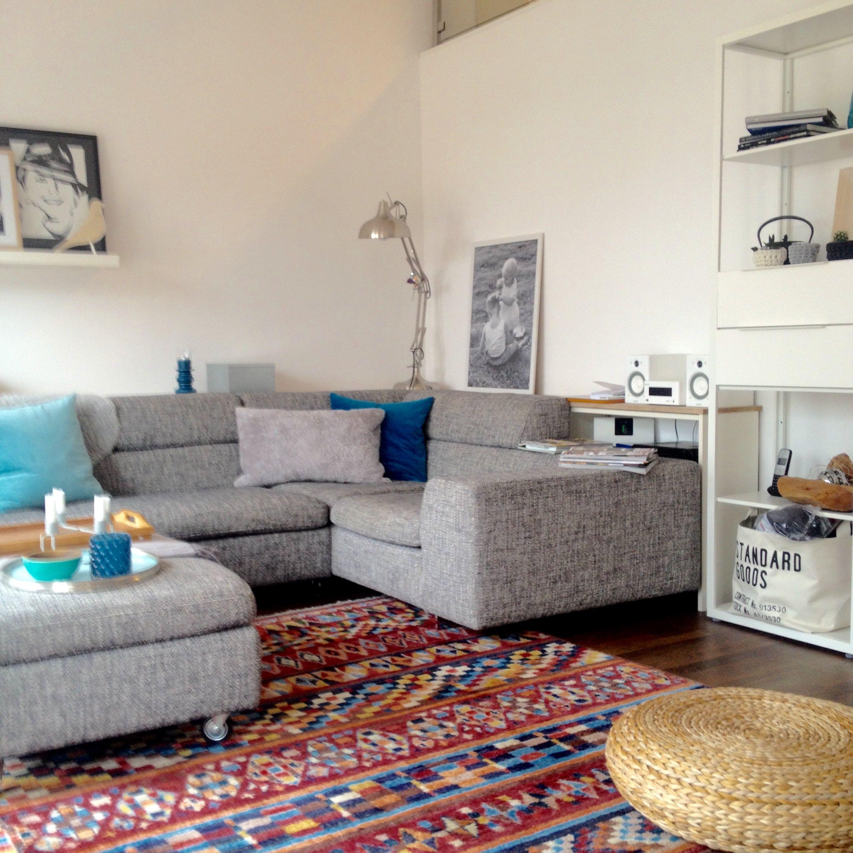 Machalke Sofa, Ethnoteppich, Grau, Schwarz, Weiß, Türkis, Blau