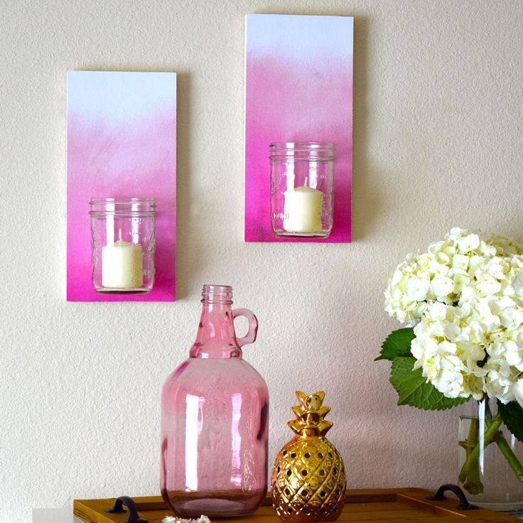 Pink Ombre Wall Sconces - candles, flowers, desk organization...I ...