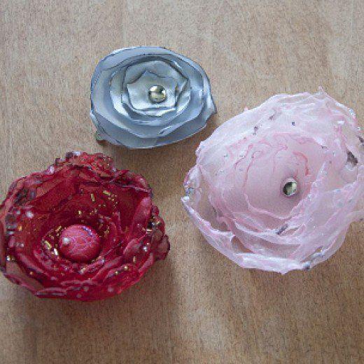 organza fabric flower brooch
