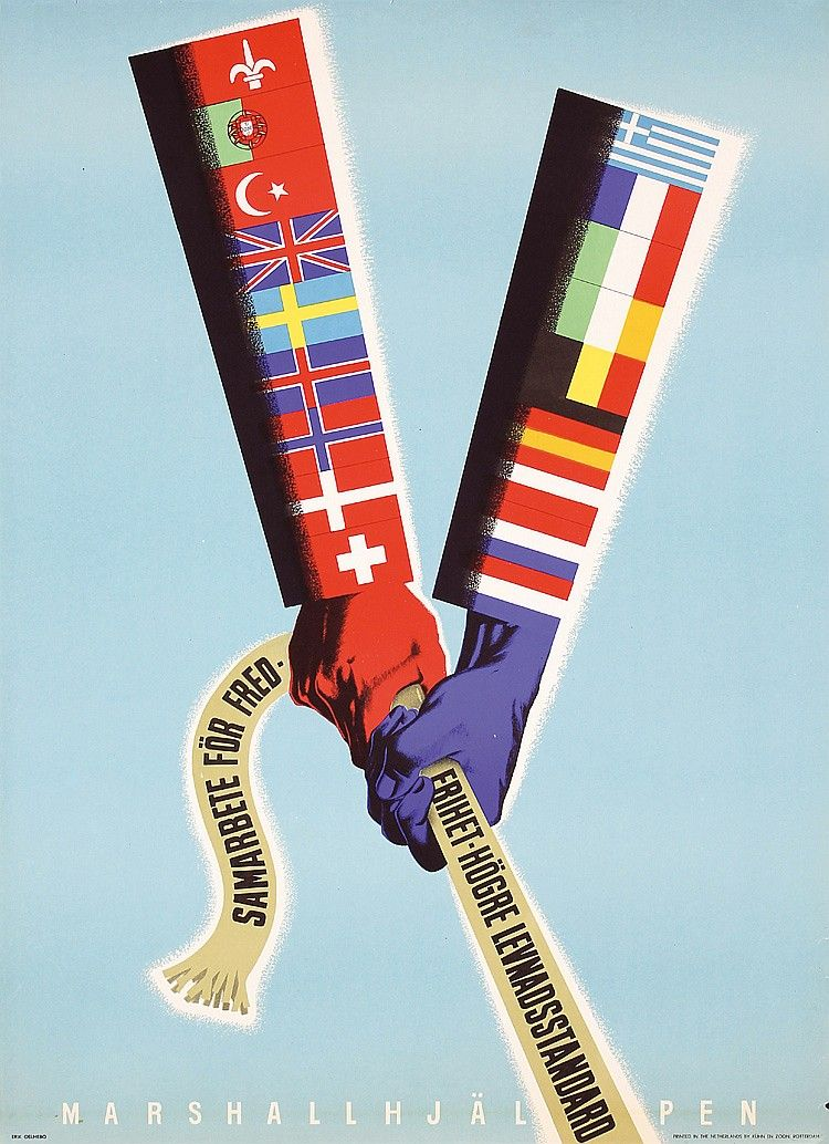 Set Of 2 Old 1940s European Recovery Posters Desig By