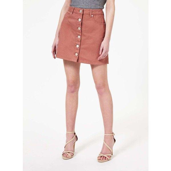 Miss Selfridge Dark Pink Button Skirt ($12) ❤ liked on Polyvore featuring skirts, mini skirts, pink, white mini skirt, miss selfridge, white skirt, short pink skirt and mini skirt