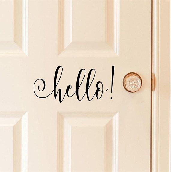 Hello Vinyl Door Decal   Home Decals, Office, Business, Front Door Decor,