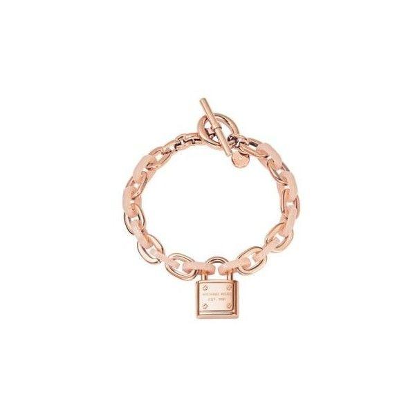 Michael Kors Logo Padlock Rose Gold Tone Bracelet 62