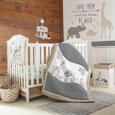 Levtexbaby Animal Sketch 4-Piece Crib Bedding Set Charcoal ...