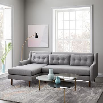 Crosby Set 3- Left Sofa, Right Chaise, Heathered Tweed, Granite ...