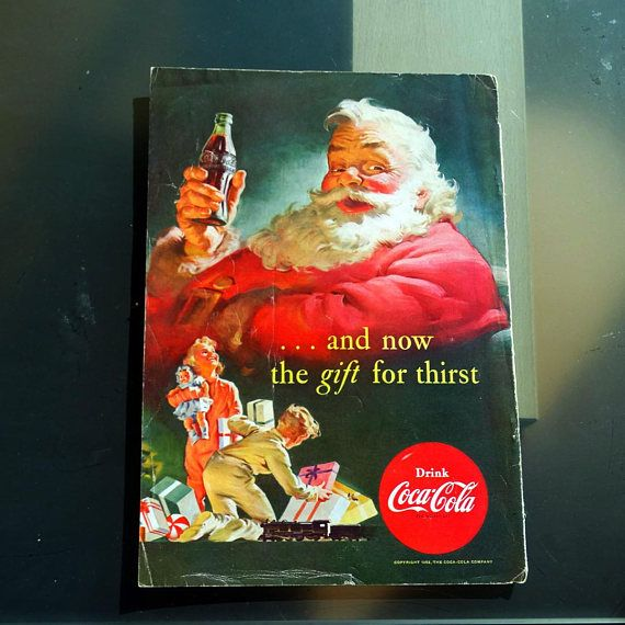 Coke Christmas Ads.Coke Christmas Ad 50s Coca Cola Santa Ad Advertisement Coca