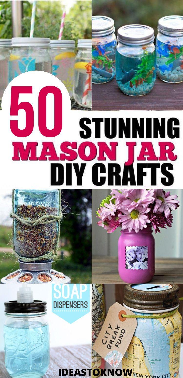 50 Cute Diy Mason Jar Crafts In 2020 Mason Jar Crafts Diy Mason Jar Diy Jar Crafts
