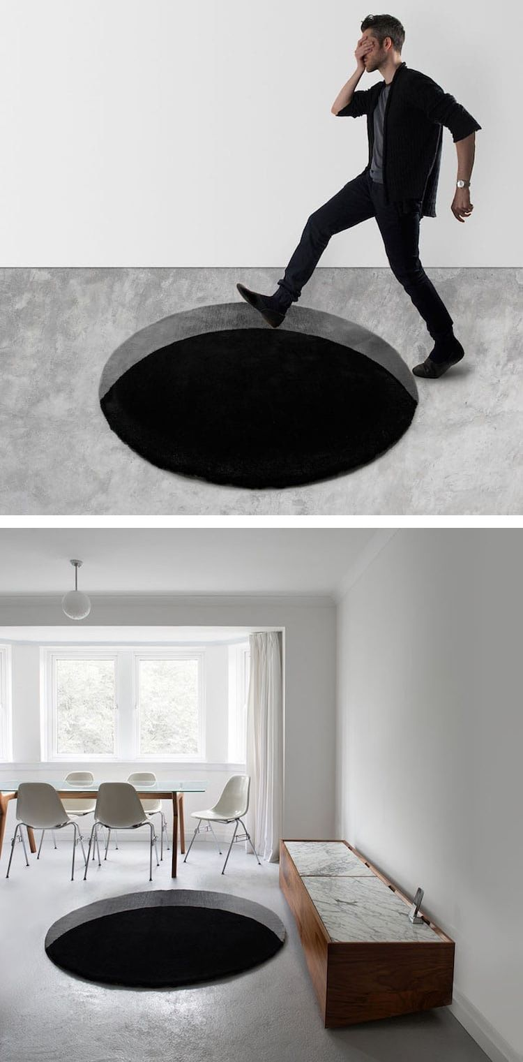 Optical Illusion Rugs Make It Look Like There Are Bottomless Holes