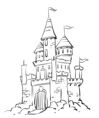 Castle Coloring Pages Cartoon Disney Palace Drawing
