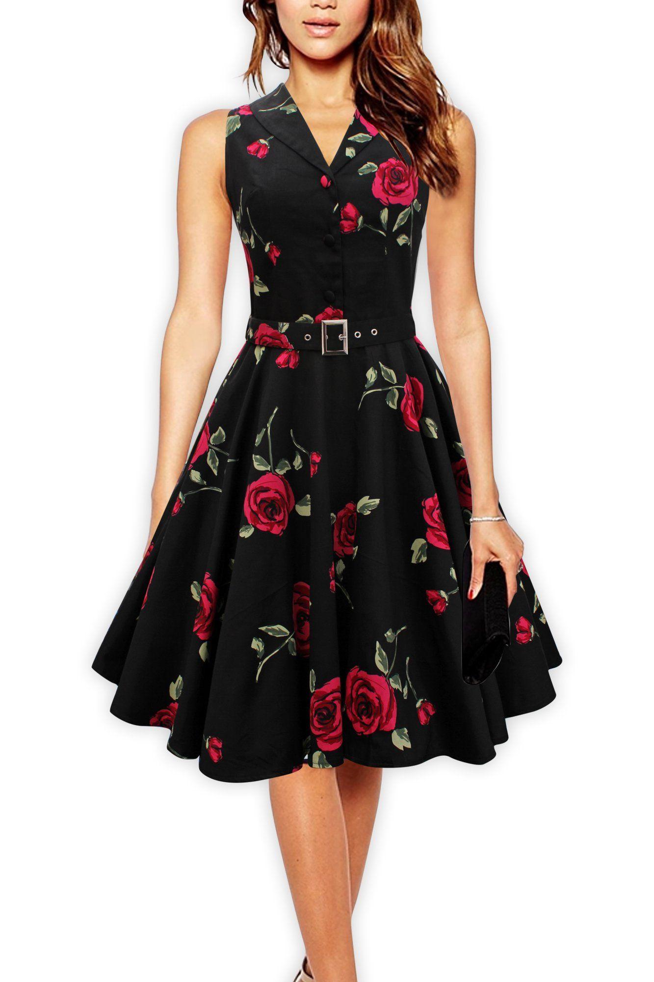 57ea3338ed8 Black Butterfly Vintage 1950 s Rockabilly Swing Dress (Black - Large Roses