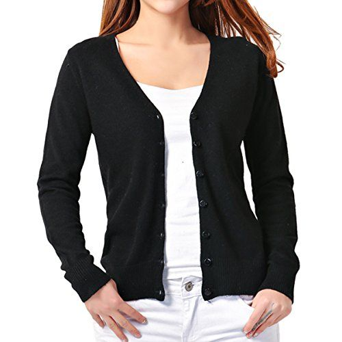 Cekaso Women's Long Sleeve Cardigan Classic Button Up V Neck Knit ...