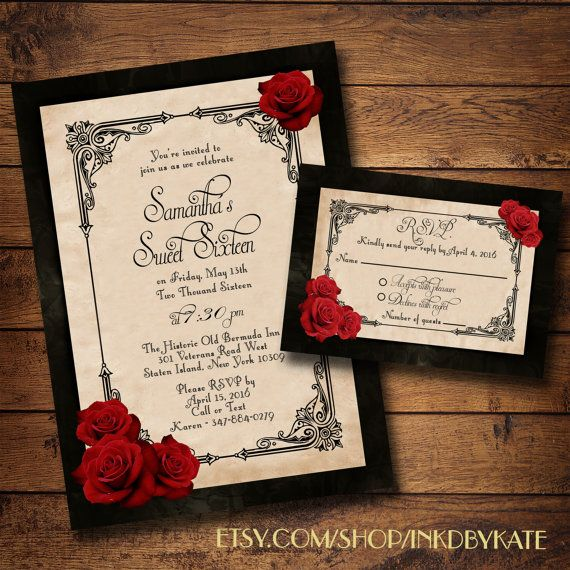 Printable Vintage Black And Red Rose Quinceanera Or Wedding Invitation