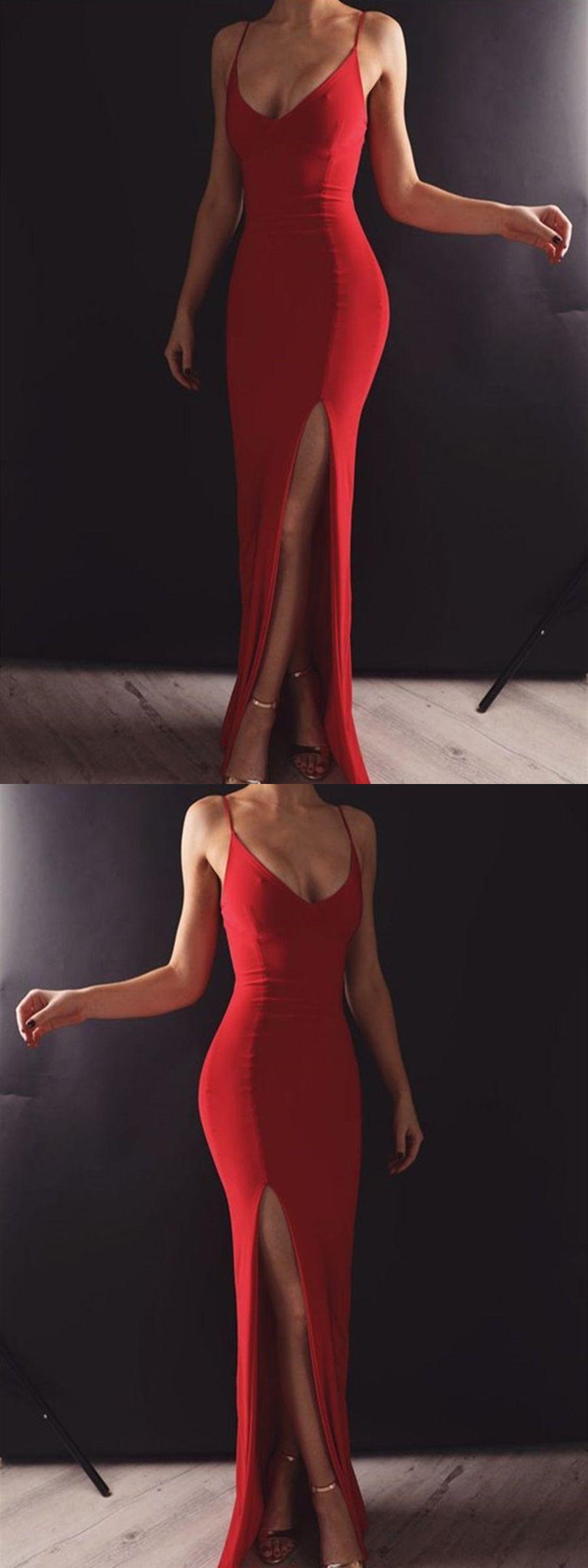 Custom Made Red Mermaid Long Prom Dresses with Leg Slit, Mermaid Red Formal Dresses, Red Evening Dresses #promdresses #promdress #promdresseslong #promdresses2019 #graduationdresses #eveningdresses #formaldresses #mermaidpromdress #redpromdress #slitpromdress