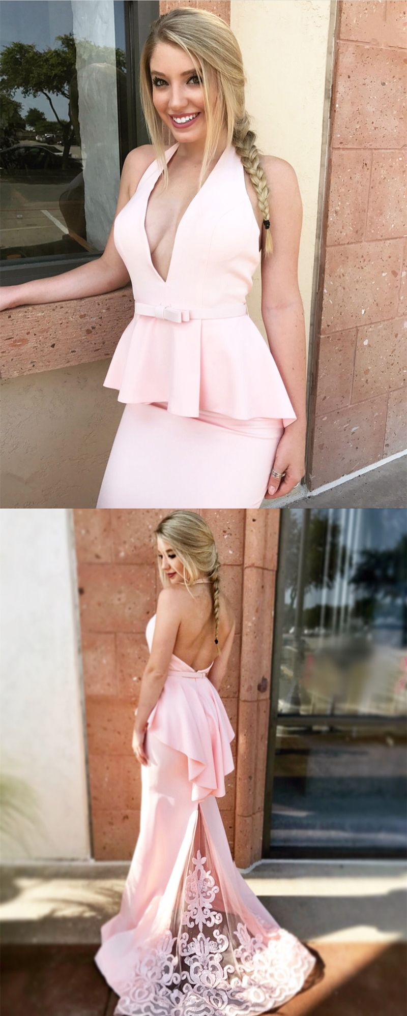 Unique mermaid halter backless pink long prom dress with lace in