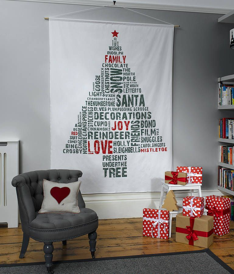 Typographic Space Saving Christmas Tree Wall Hanging Christmas