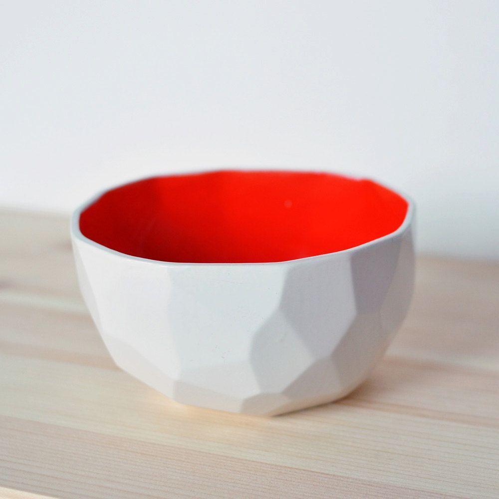 modern ceramic bowl handmade in polygons  poligon bowl  red  - modern ceramic bowl handmade in polygons  poligon bowl  red € via