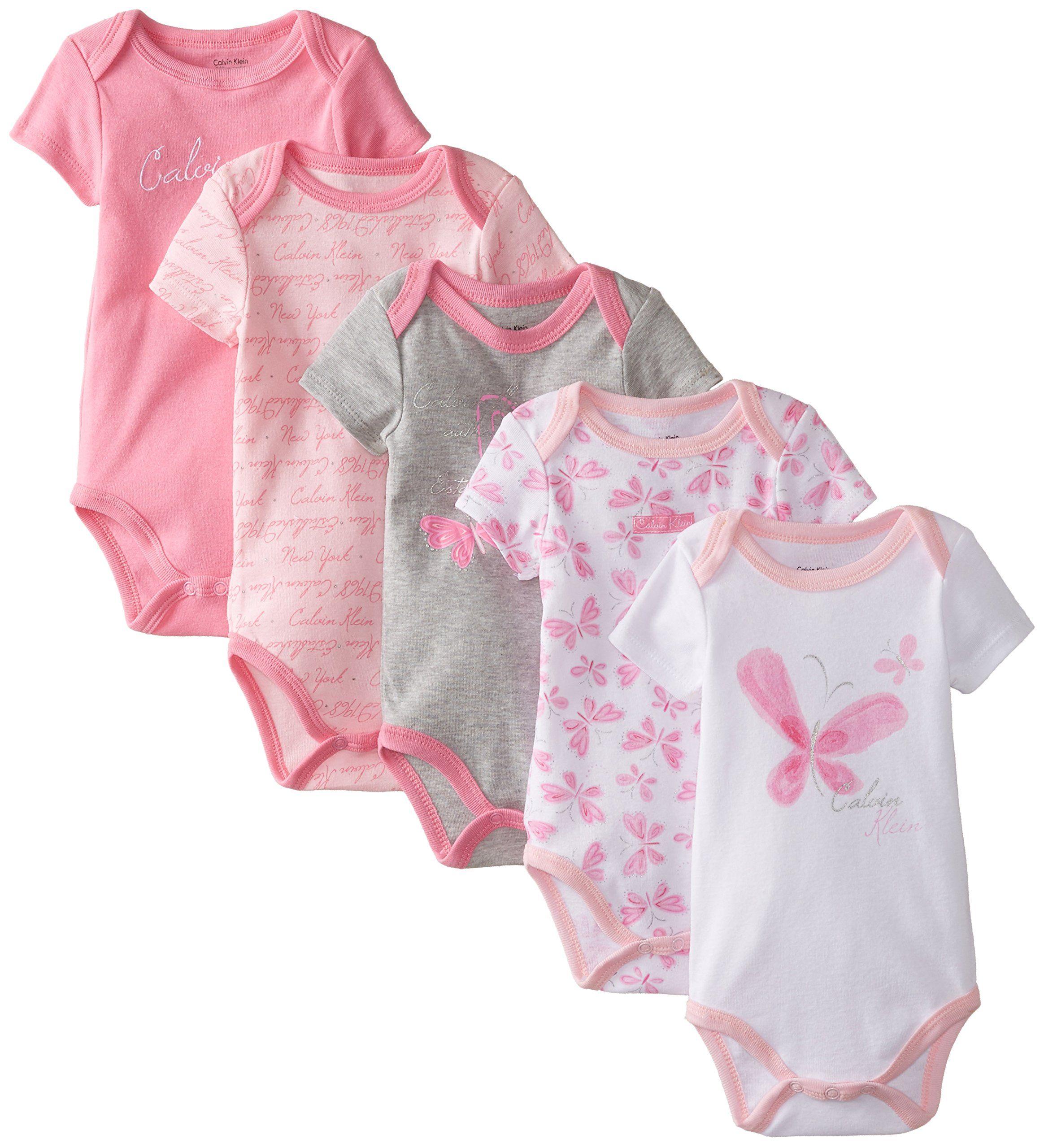 Sale Calvin Klein Baby Girls Newborn 5 Pack Bodysuits Pink