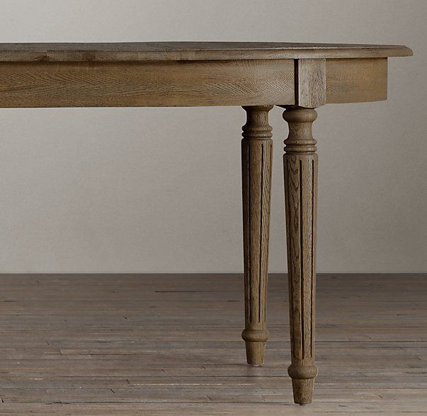 Vintage French Fluted Leg Extension Dining Table  Affordable Table From  Restoration Hardware
