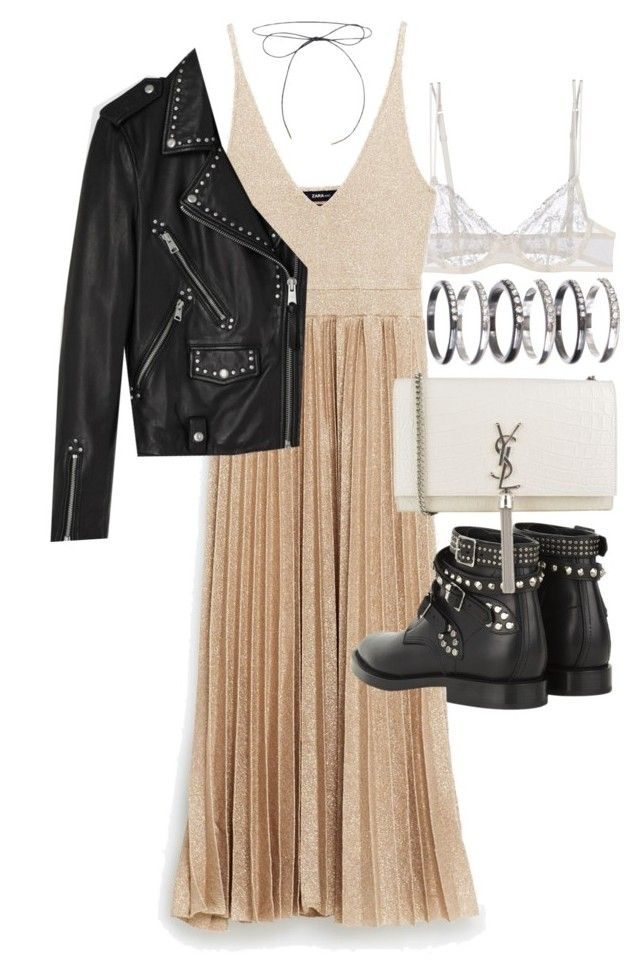 """""""Untitled #20417"""" by florencia95 ❤ liked on Polyvore featuring La Perla, AllSaints, Yves Saint Laurent and M.N.G"""