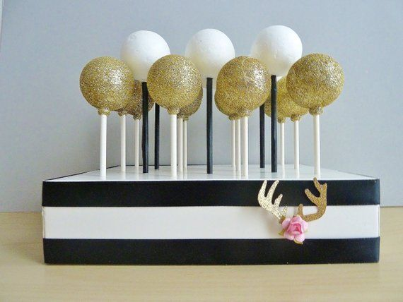 Black White Stripe Cake Pops Stand Modern Wedding Boho
