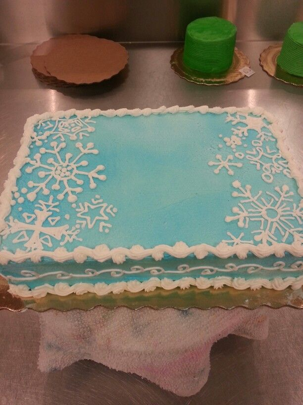 Swell Snowflake Cake Snowflake Cake Birthday Sheet Cakes Winter Personalised Birthday Cards Beptaeletsinfo