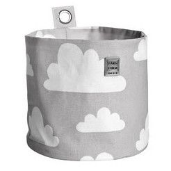 Large, Black Farg Form Round Storage with Cloud Print