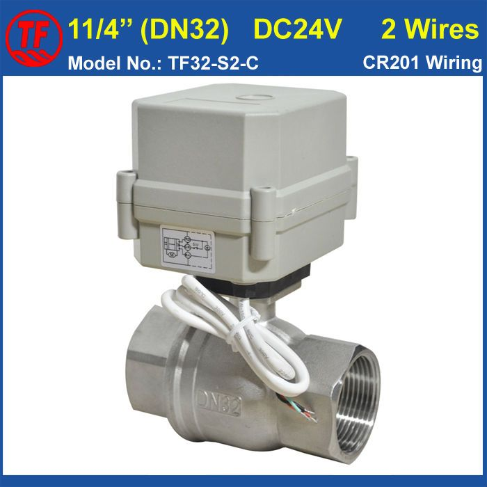 Dc24v 2 Wires Dn32 Electric Ball Valve 10nm Actuator Metal Gear 2 Way Ss304 Bsp Npt 1 1 4 For Water Cont Electric Water Valve Stainless Steel 304 Electricity