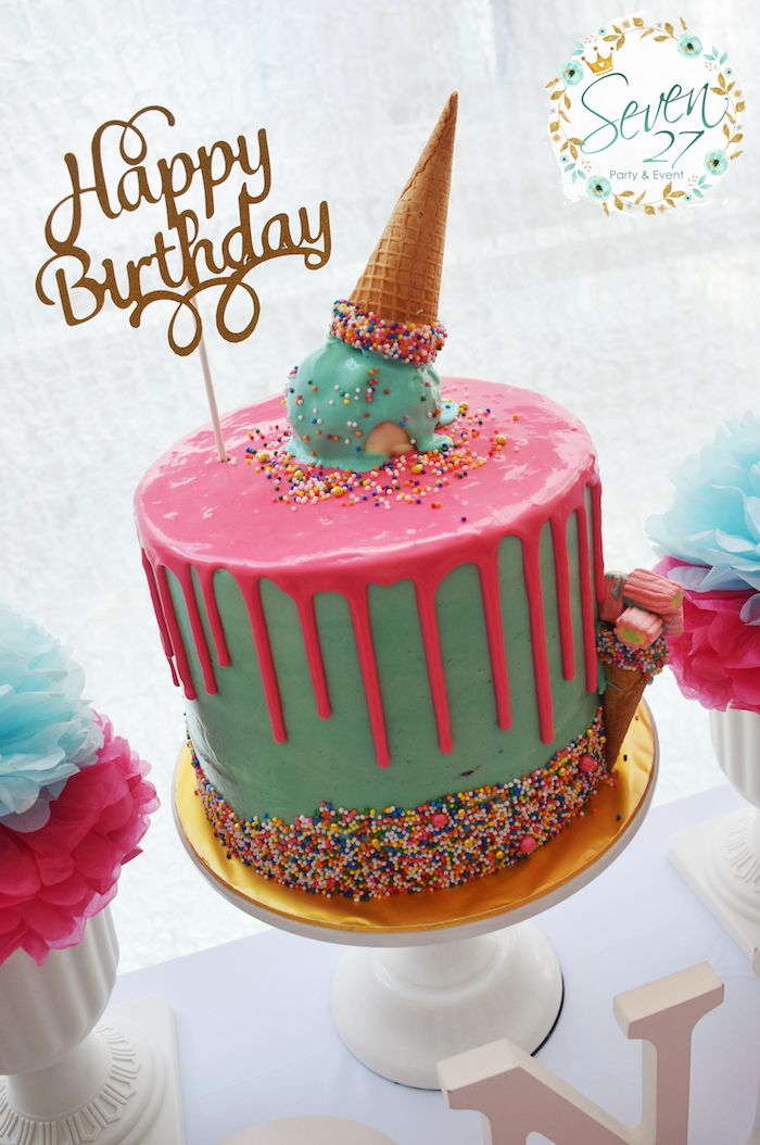 Girly Ice Cream Birthday Party Ice Cream Party Ideas Pinterest