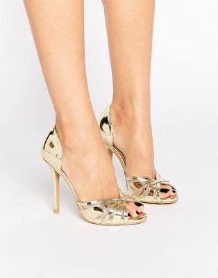 Gold Metallic Heeled Peep Toe Sandals