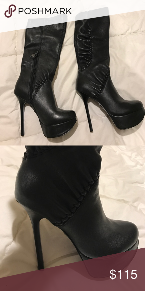 Leather heeled boots Super hot real leather heeled boots! Size 6.5. Heel height: about 5 inches with a platform of a little above 1 inch making it super comfy to walk in! The skinny heel and leather detail on the sides makes it very sexy and chic! Like new condition! Shoes Heeled Boots