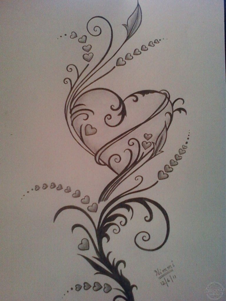 Heart Pencil Drawing Love