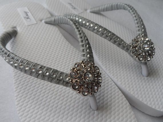 Grey Bridal Flip-Flops / Wedding Colors Flip by RossyAccesorios
