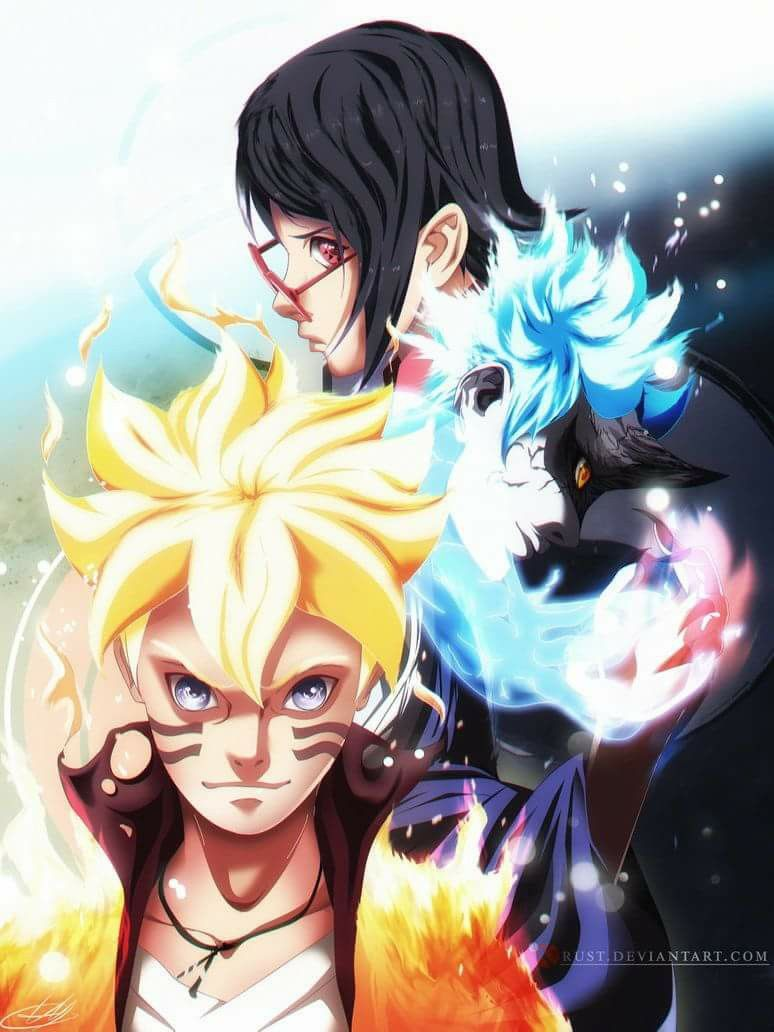 Boruto In Kyuubi Form Sarada Uchiha And Mitsuki In Sage Mode Teamkonohamaru Newgeneration Sarada Uchiha Anime Naruto Super Anime