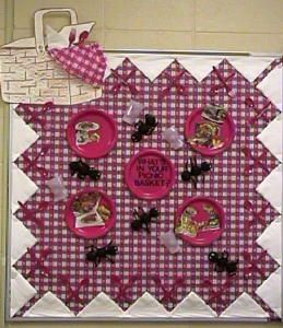 Tablecloth, with napkins around the edge and crossed forks ...