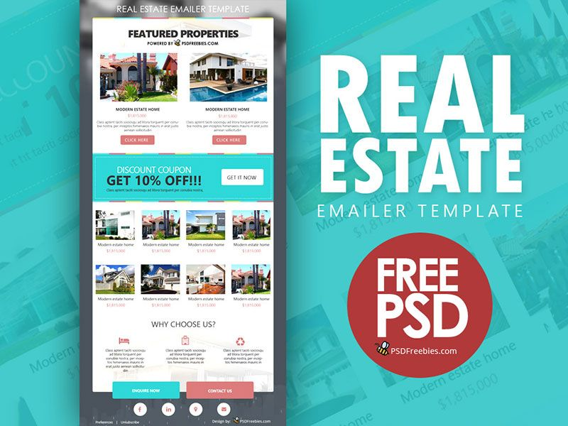 Real Estate E-mailer Template Free PSD | Flat style, Template and ...