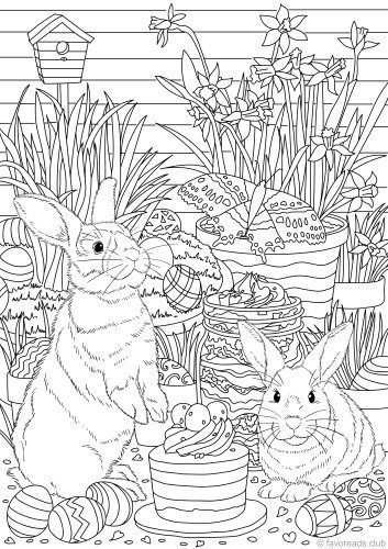 Easter Bunnies Favoreads Coloring Club Cute Coloring Pages Animal Coloring Pages Spring Coloring Pages