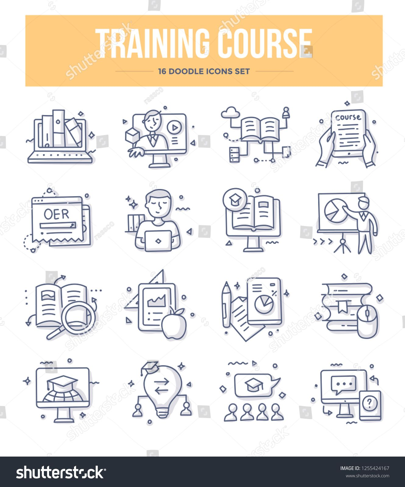 Training Course And Online Education Doodle Icons Collection E