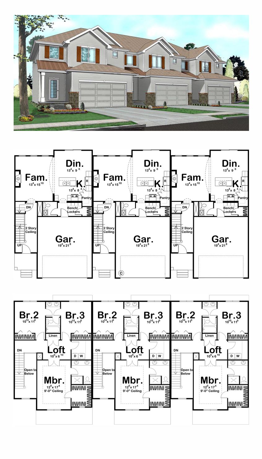 Three unit triplex plan 41141 total living area 4935 sq for Triplex floor plans