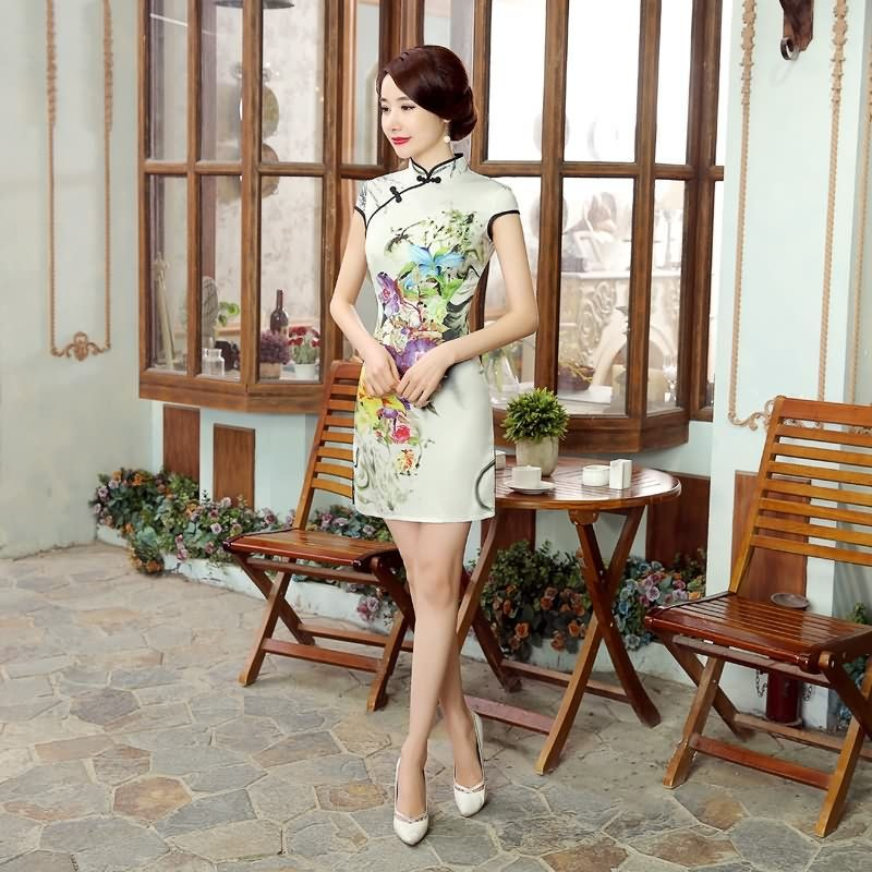 Short length Acrylic Fabric Cheongsam Qipao Chinese dress LGD27-02