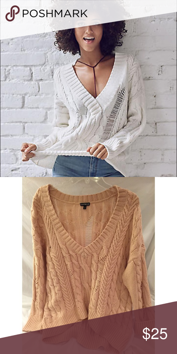 Express Cable Knit Sweater Dusty Rose Pale Pink V-Neck Cable Knit Sweater  can be worn off the shoulder. Also available in dark grey Express Sweaters  V-Necks 6c0985f1a