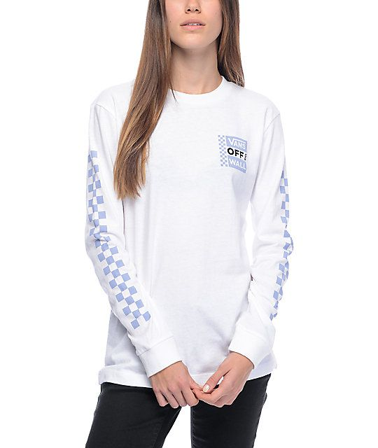 6f346e00896b6c Cruise like a true California skater girl style with the OTW white long  sleeve t-shirt from Vans. The white cotton long sleeve tee features light  blue ...