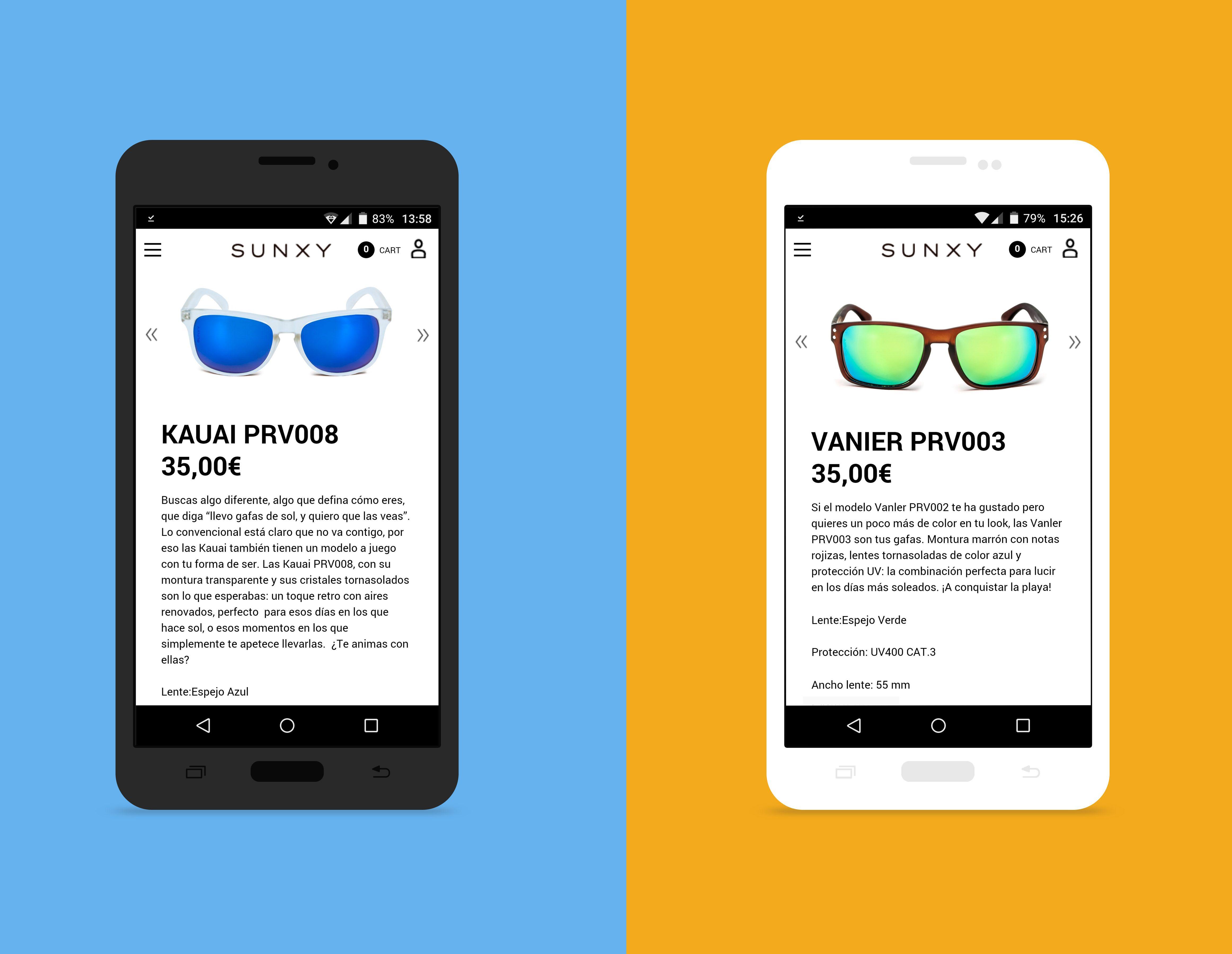 Textos descriptivos para los modelos Kauai y Vanier de las gafas de sol Sunxy.