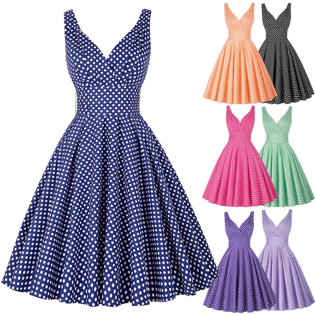Vintage 50\'s 60S Style Polka Dot Swing Pinup Retro Housewife Evening ...