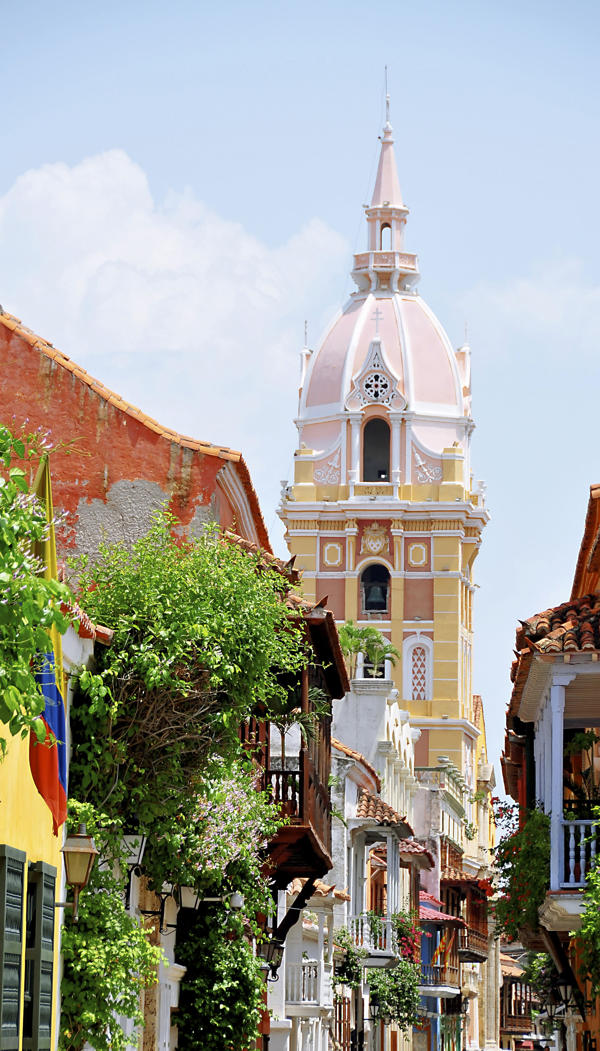 This Is A Picture Of The Old Cathedral Tower In Colombia The Architecture In Colombia Is Historic Tourists Can Take T Wonderful Places Travel Intrepid Travel