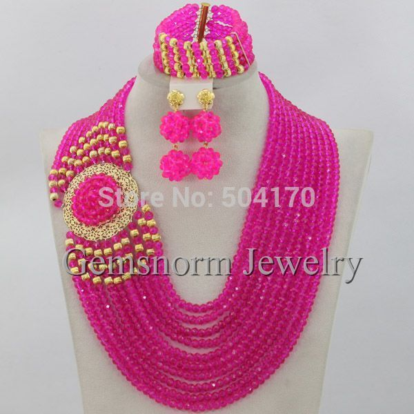 2015 Classic Design Nigerian Wedding African Beads Jewelry Set