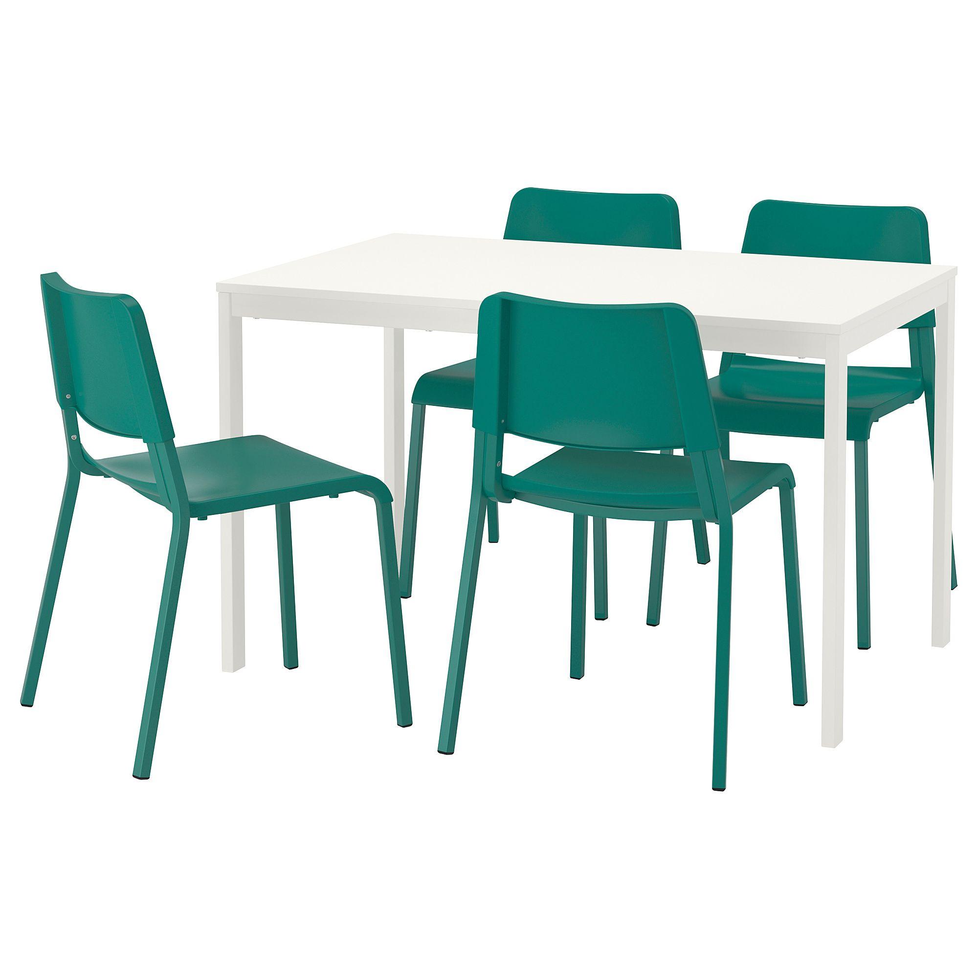 VANGSTA / TEODORES Tisch und 4 Stühle weiß, grün Weiße
